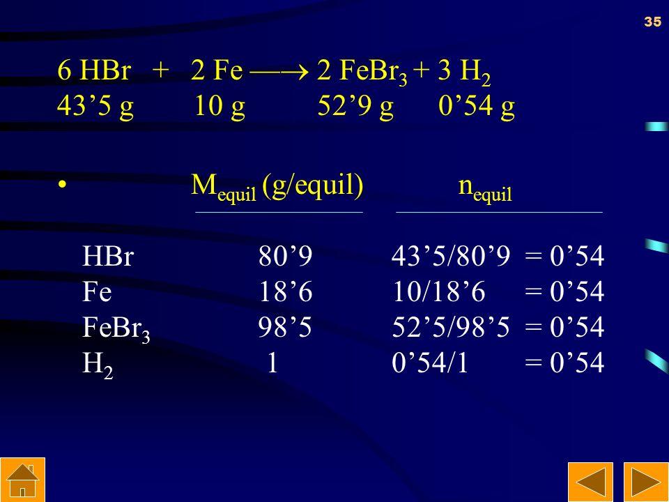 6 HBr + 2 Fe — 2 FeBr3 + 3 H2 43'5 g 10 g 52'9 g 0'54 g