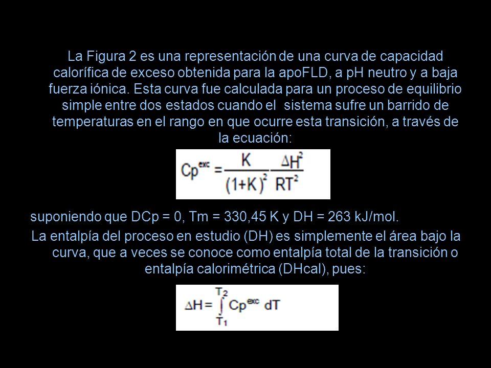 La Figura 2 es una representación de una curva de capacidad calorífica de exceso obtenida para la apoFLD, a pH neutro y a baja fuerza iónica. Esta curva fue calculada para un proceso de equilibrio simple entre dos estados cuando el sistema sufre un barrido de temperaturas en el rango en que ocurre esta transición, a través de la ecuación: