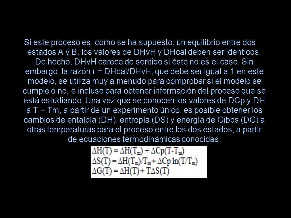 Si este proceso es, como se ha supuesto, un equilibrio entre dos estados A y B, los valores de DHvH y DHcal deben ser idénticos.