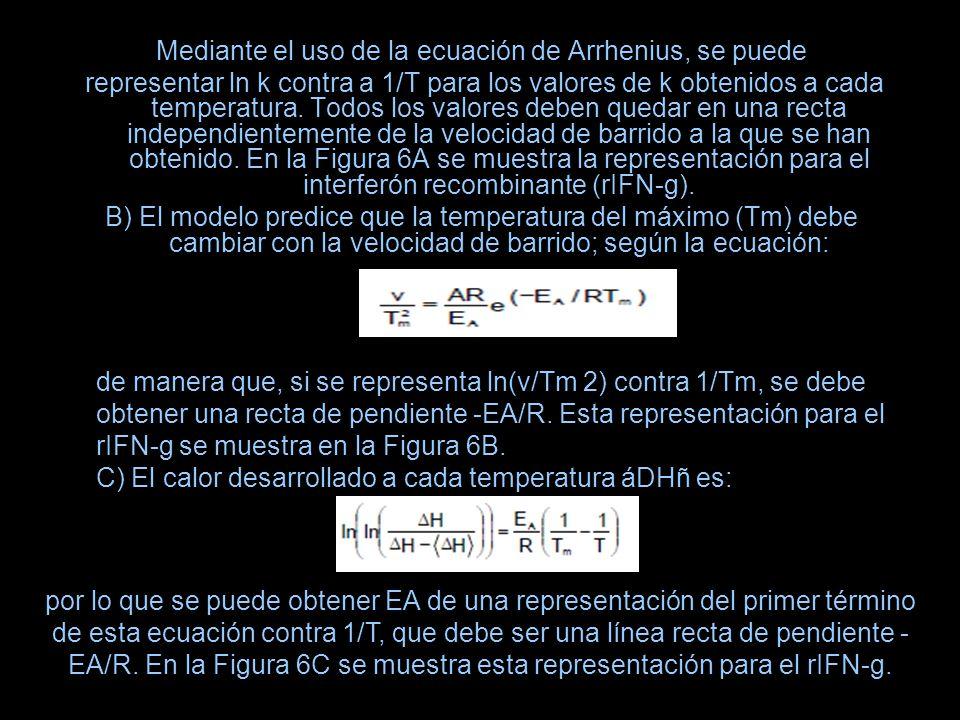 Mediante el uso de la ecuación de Arrhenius, se puede