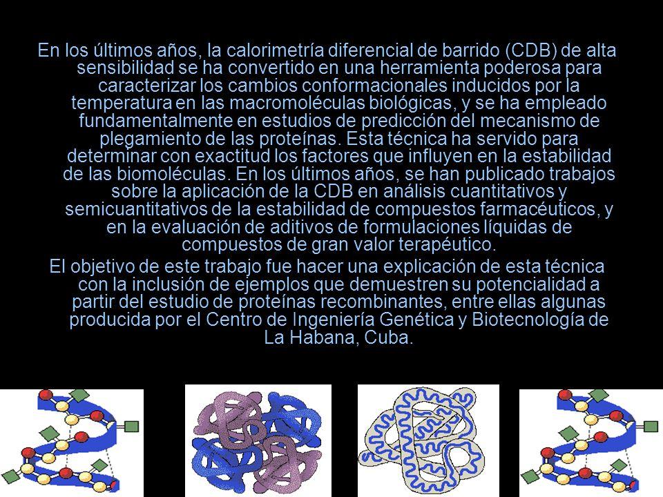 En los últimos años, la calorimetría diferencial de barrido (CDB) de alta sensibilidad se ha convertido en una herramienta poderosa para caracterizar los cambios conformacionales inducidos por la temperatura en las macromoléculas biológicas, y se ha empleado fundamentalmente en estudios de predicción del mecanismo de plegamiento de las proteínas. Esta técnica ha servido para determinar con exactitud los factores que influyen en la estabilidad de las biomoléculas. En los últimos años, se han publicado trabajos sobre la aplicación de la CDB en análisis cuantitativos y semicuantitativos de la estabilidad de compuestos farmacéuticos, y en la evaluación de aditivos de formulaciones líquidas de compuestos de gran valor terapéutico.