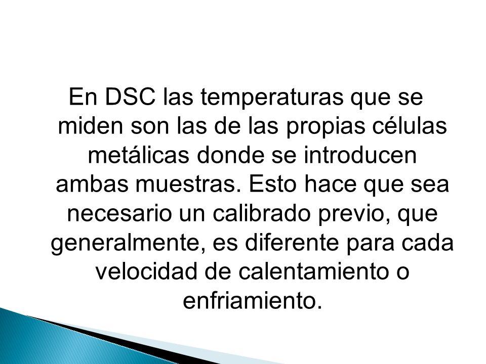 En DSC las temperaturas que se miden son las de las propias células metálicas donde se introducen ambas muestras.