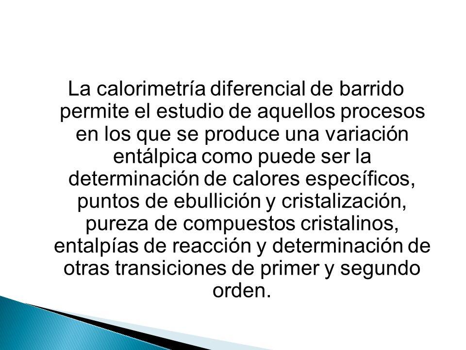 La calorimetría diferencial de barrido permite el estudio de aquellos procesos en los que se produce una variación entálpica como puede ser la determinación de calores específicos, puntos de ebullición y cristalización, pureza de compuestos cristalinos, entalpías de reacción y determinación de otras transiciones de primer y segundo orden.