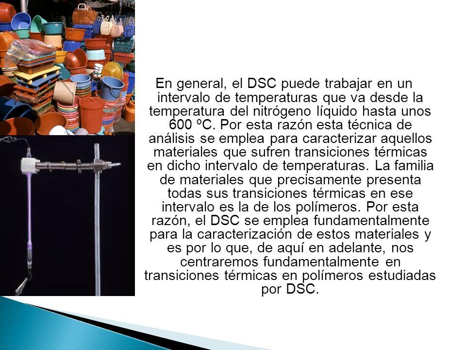 En general, el DSC puede trabajar en un intervalo de temperaturas que va desde la temperatura del nitrógeno líquido hasta unos 600 ºC.