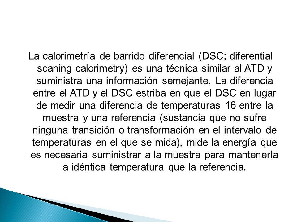 La calorimetría de barrido diferencial (DSC; diferential scaning calorimetry) es una técnica similar al ATD y suministra una información semejante.