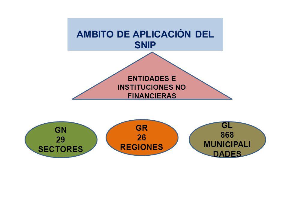 AMBITO DE APLICACIÓN DEL SNIP ENTIDADES E INSTITUCIONES NO FINANCIERAS