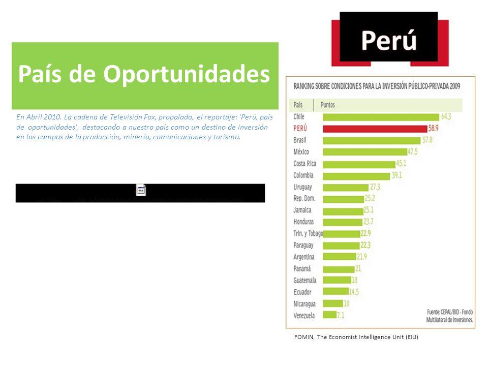 País de Oportunidades En Abril 2010. La cadena de Televisión Fox, propalado, el reportaje: Perú, país.