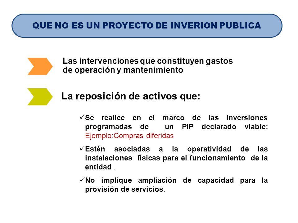 QUE NO ES UN PROYECTO DE INVERION PUBLICA