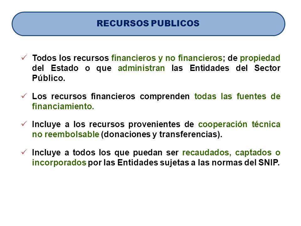 RECURSOS PUBLICOS Todos los recursos financieros y no financieros; de propiedad del Estado o que administran las Entidades del Sector Público.