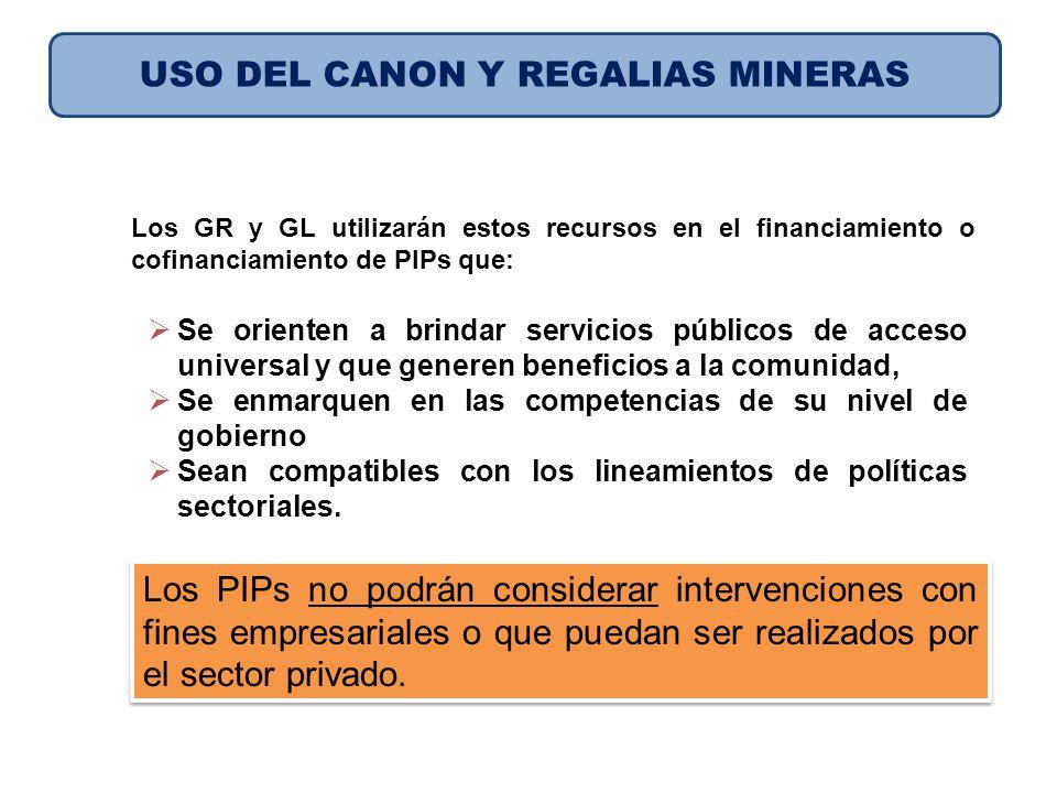 USO DEL CANON Y REGALIAS MINERAS