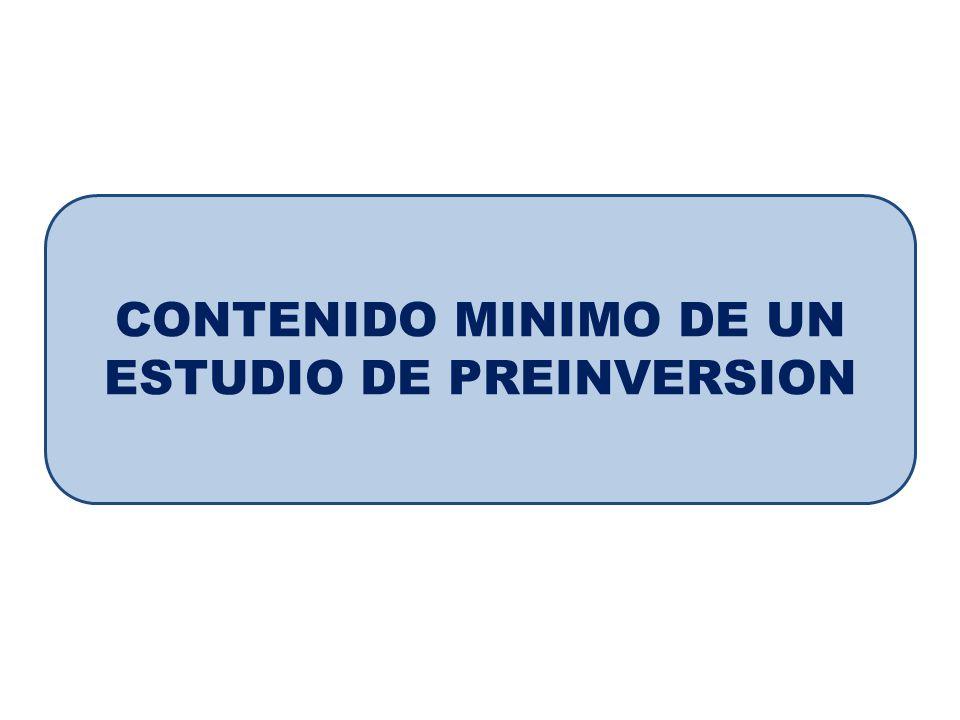 CONTENIDO MINIMO DE UN ESTUDIO DE PREINVERSION