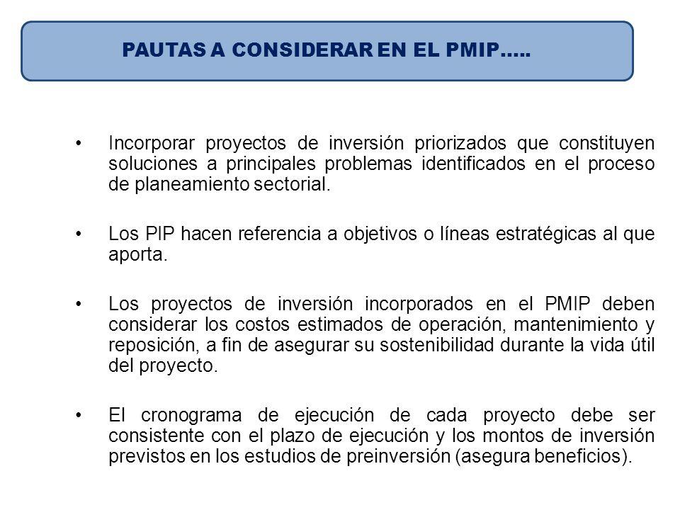 PAUTAS A CONSIDERAR EN EL PMIP…..
