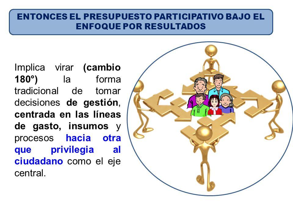 ENTONCES EL PRESUPUESTO PARTICIPATIVO BAJO EL ENFOQUE POR RESULTADOS