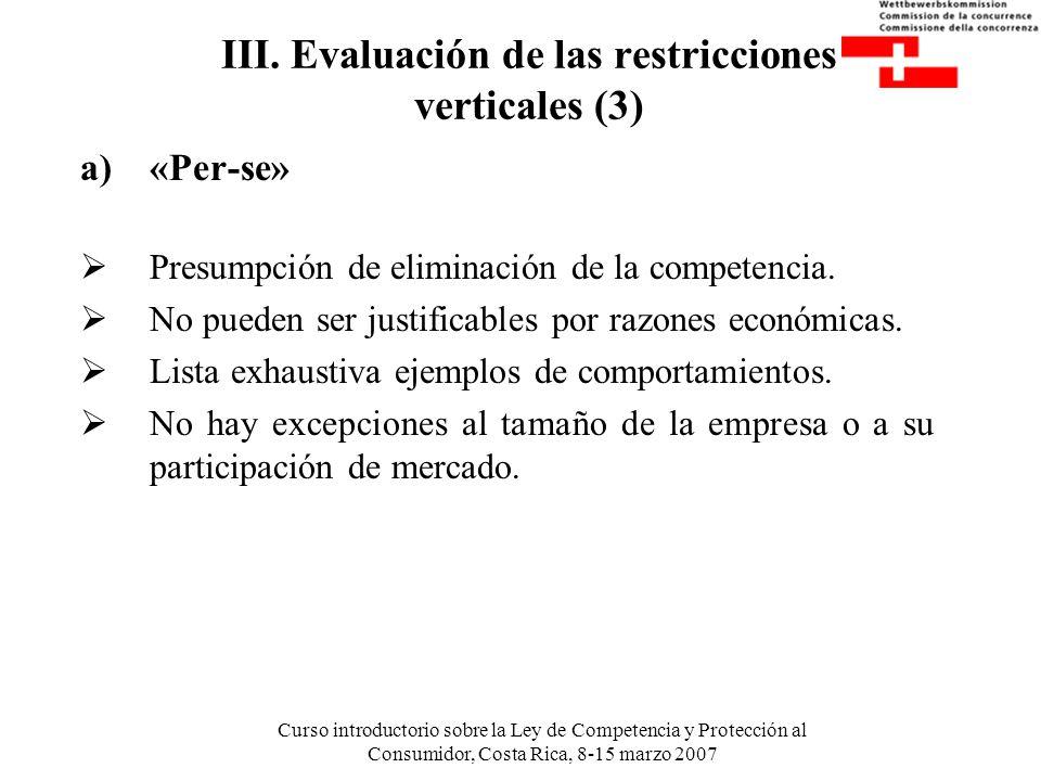 III. Evaluación de las restricciones verticales (3)