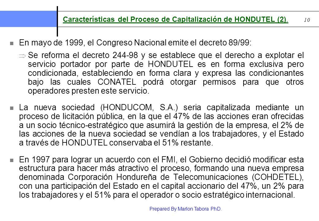 Características del Proceso de Capitalización de HONDUTEL (2).