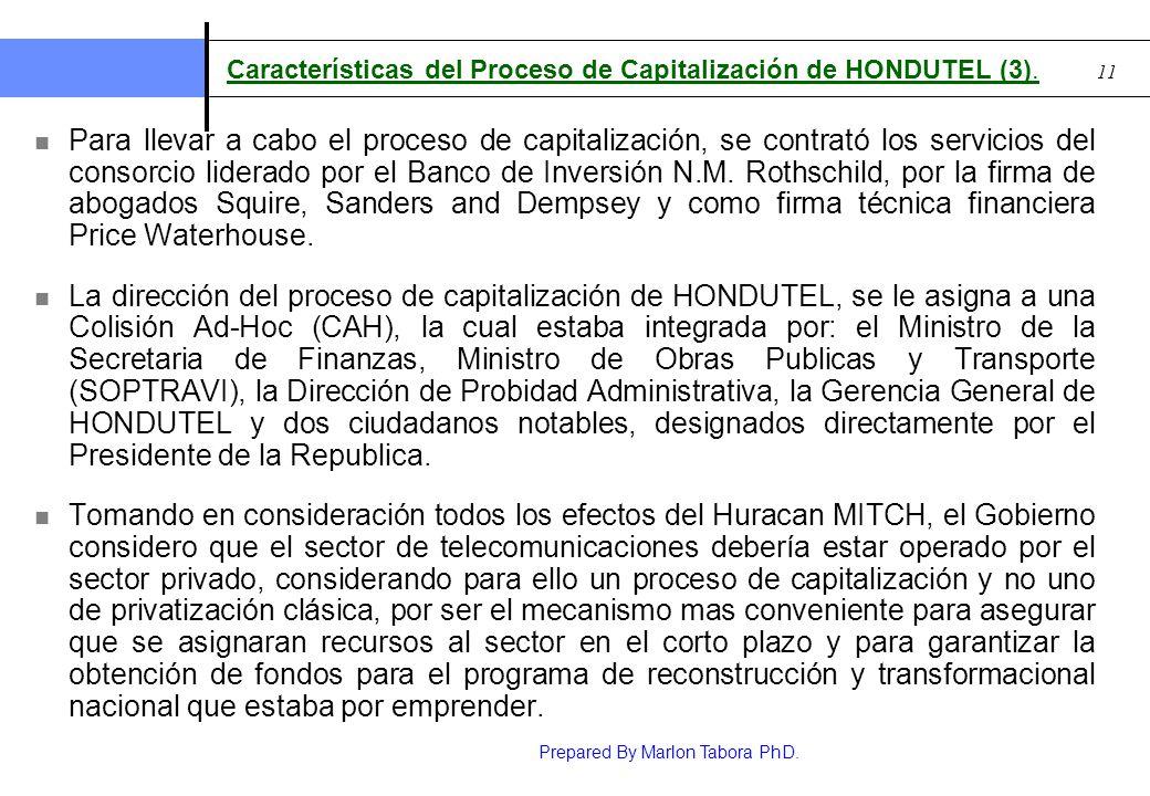 Características del Proceso de Capitalización de HONDUTEL (3).