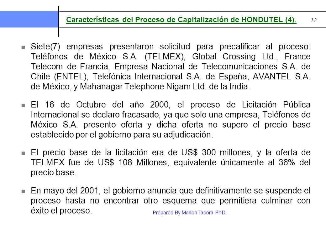 Características del Proceso de Capitalización de HONDUTEL (4).