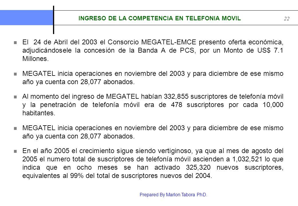 INGRESO DE LA COMPETENCIA EN TELEFONIA MOVIL