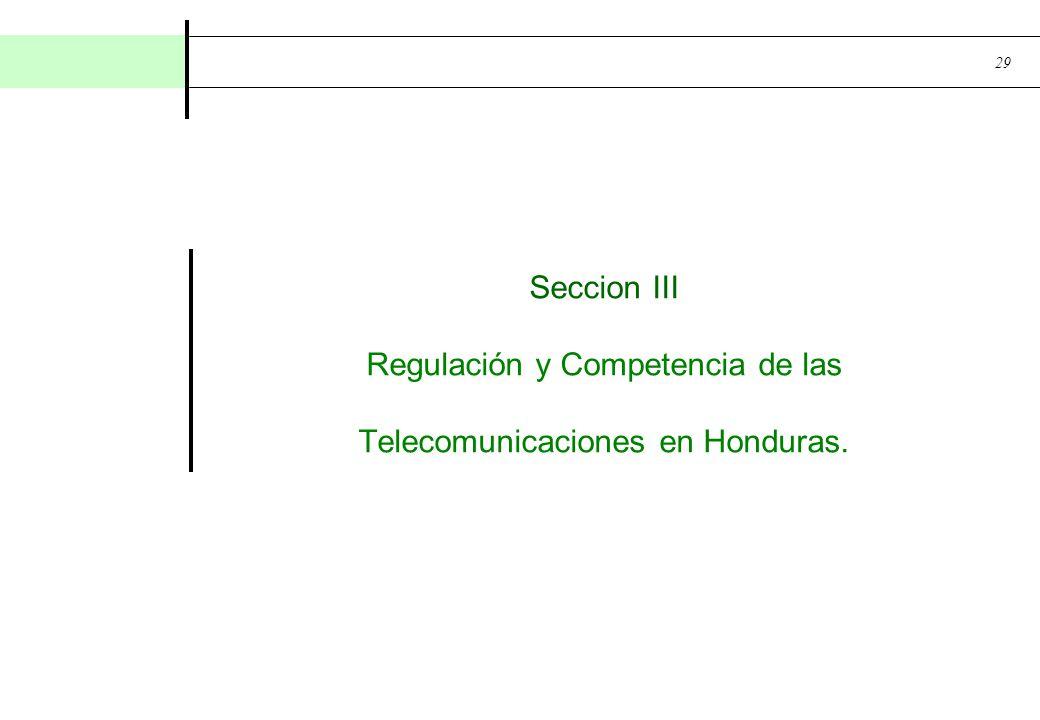 Seccion III Regulación y Competencia de las Telecomunicaciones en Honduras.