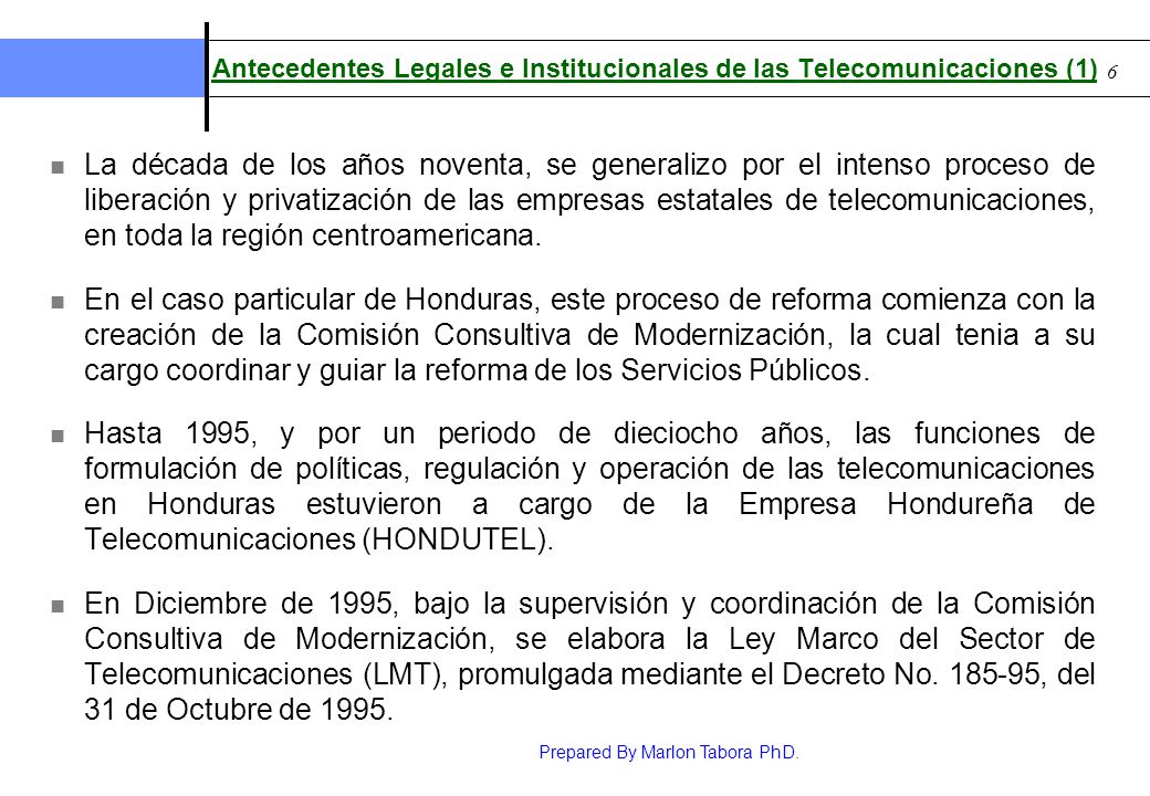 Antecedentes Legales e Institucionales de las Telecomunicaciones (1)