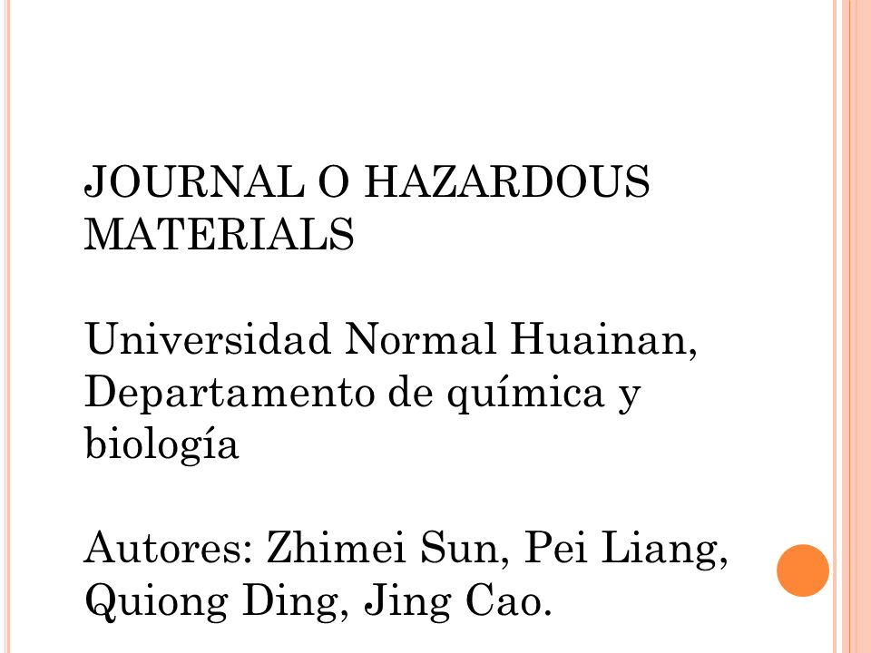 JOURNAL O HAZARDOUS MATERIALS