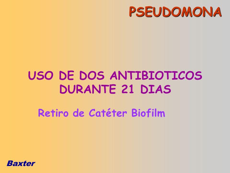 USO DE DOS ANTIBIOTICOS DURANTE 21 DIAS Retiro de Catéter Biofilm
