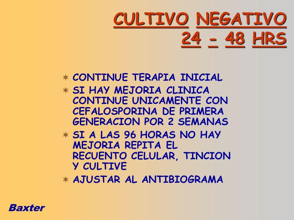 CULTIVO NEGATIVO 24 - 48 HRS CONTINUE TERAPIA INICIAL