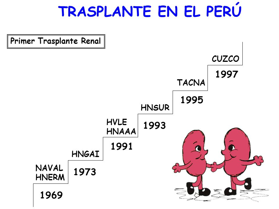 TRASPLANTE EN EL PERÚPrimer Trasplante Renal. 1969. NAVAL. HNERM. 1973. HNGAI. 1991. HVLE. HNAAA. 1993.