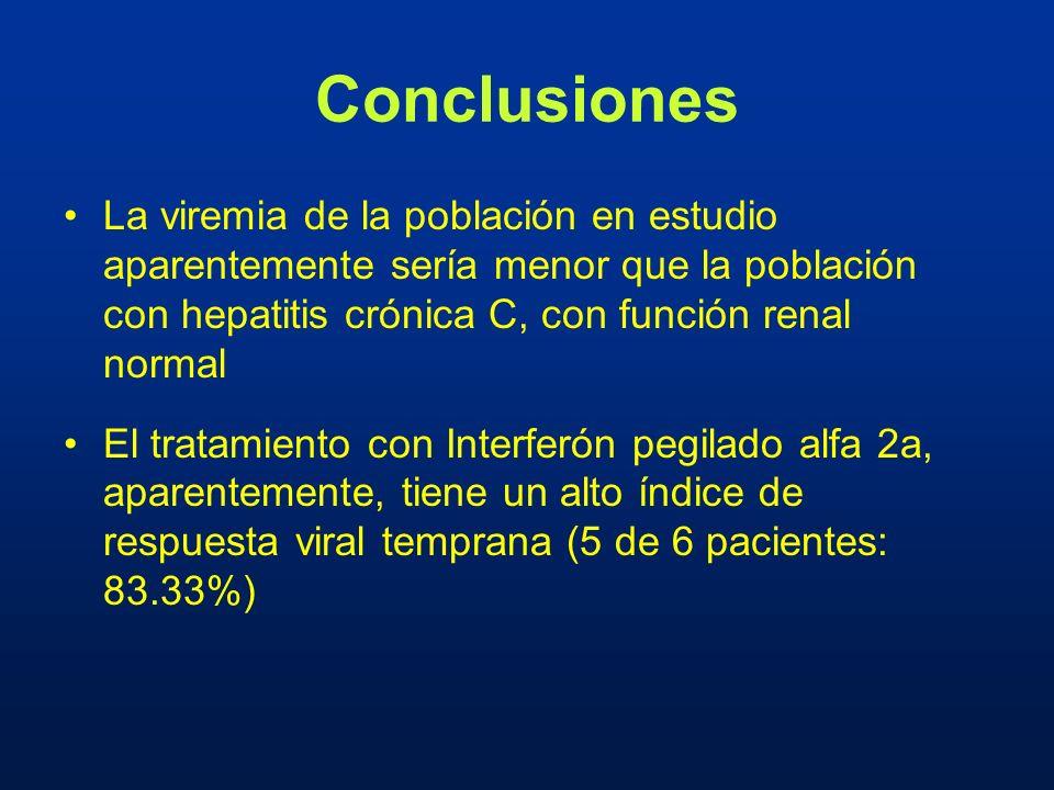 Conclusiones La viremia de la población en estudio aparentemente sería menor que la población con hepatitis crónica C, con función renal normal.