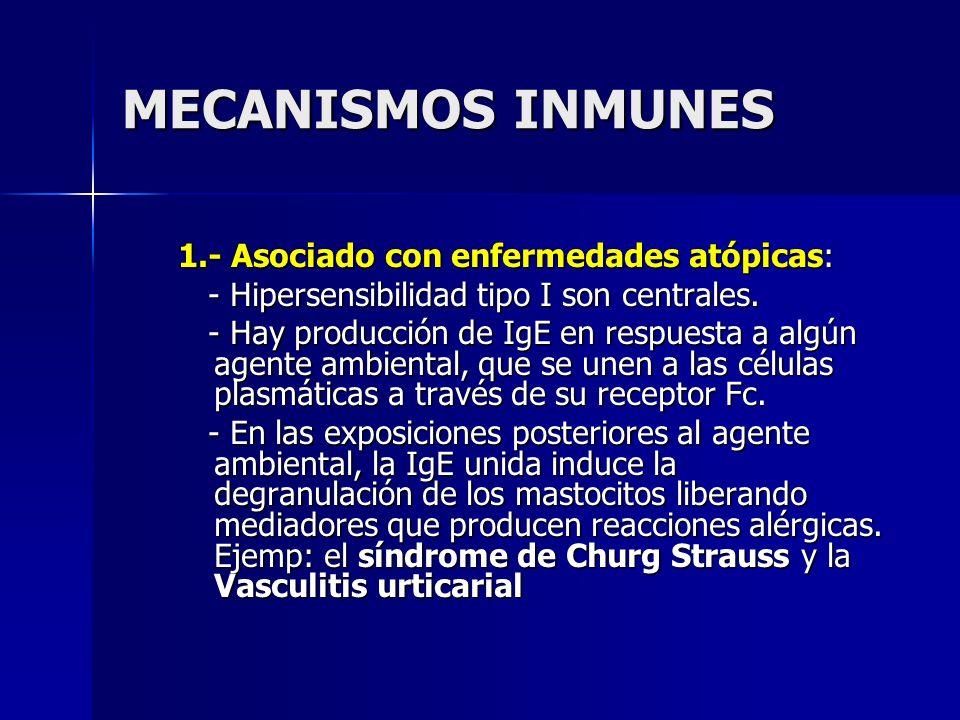 MECANISMOS INMUNES 1.- Asociado con enfermedades atópicas: