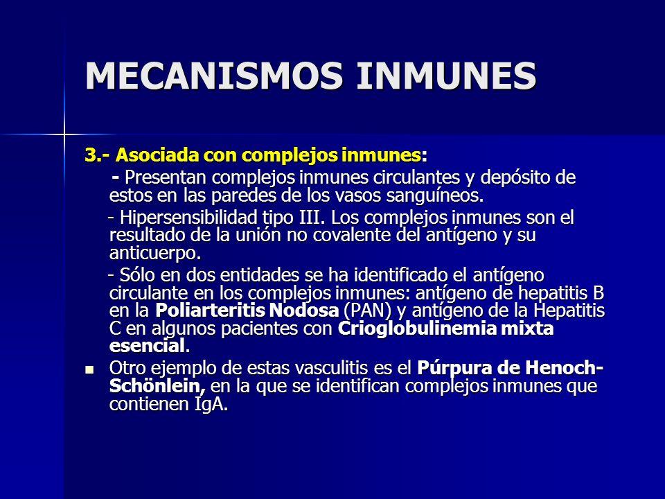 MECANISMOS INMUNES 3.- Asociada con complejos inmunes: