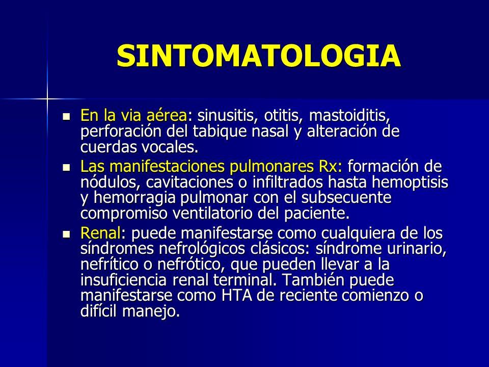 SINTOMATOLOGIAEn la via aérea: sinusitis, otitis, mastoiditis, perforación del tabique nasal y alteración de cuerdas vocales.