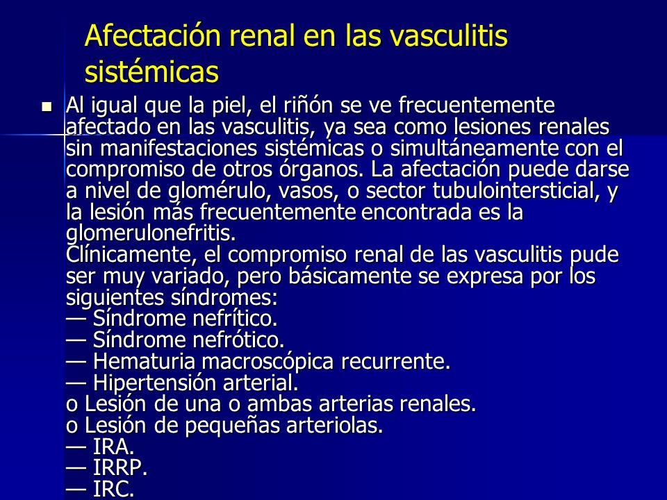 Afectación renal en las vasculitis sistémicas
