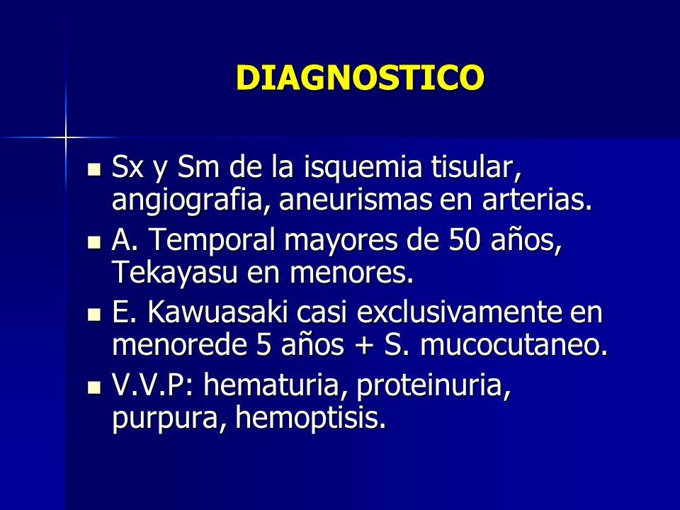 DIAGNOSTICOSx y Sm de la isquemia tisular, angiografia, aneurismas en arterias. A. Temporal mayores de 50 años, Tekayasu en menores.