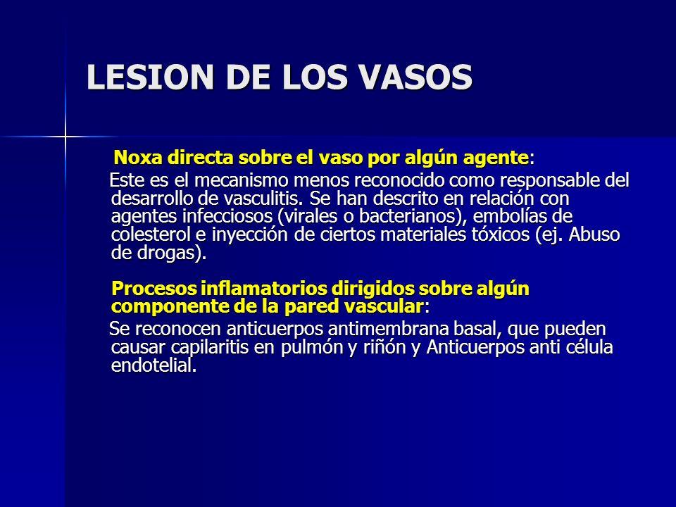 LESION DE LOS VASOS Noxa directa sobre el vaso por algún agente: