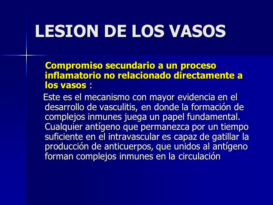 LESION DE LOS VASOS Compromiso secundario a un proceso inflamatorio no relacionado directamente a los vasos :