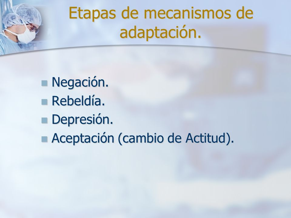 Etapas de mecanismos de adaptación.