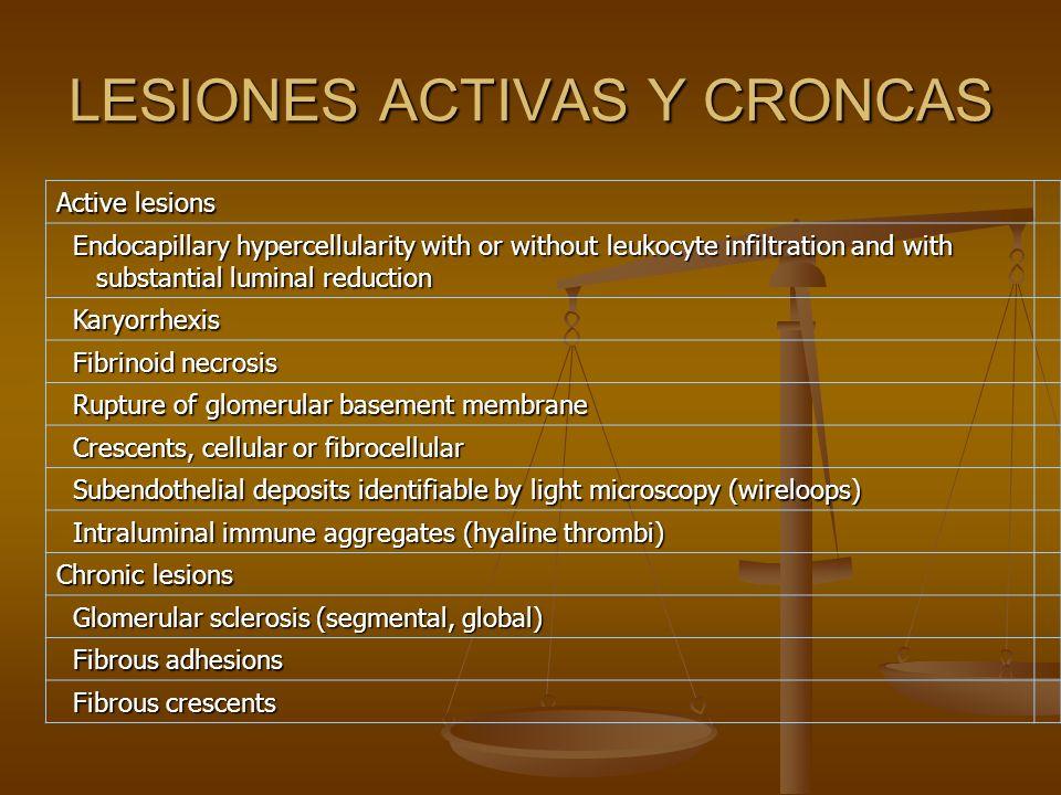 LESIONES ACTIVAS Y CRONCAS