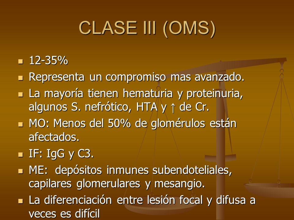CLASE III (OMS) 12-35% Representa un compromiso mas avanzado.