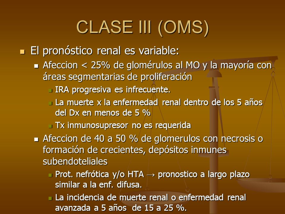 CLASE III (OMS) El pronóstico renal es variable: