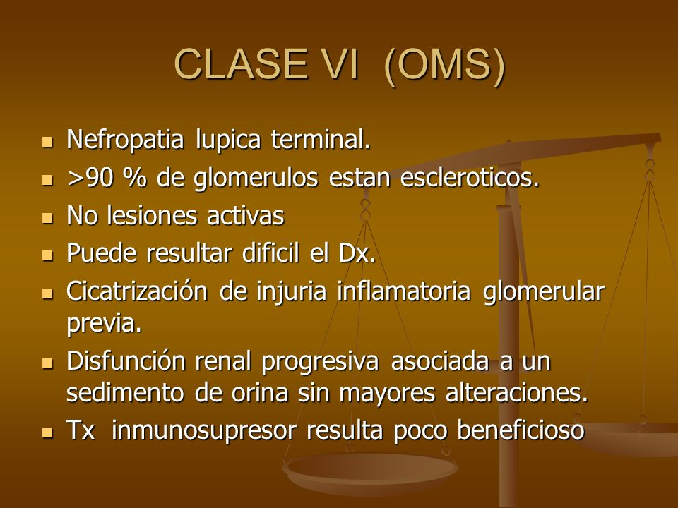 CLASE VI (OMS) Nefropatia lupica terminal.