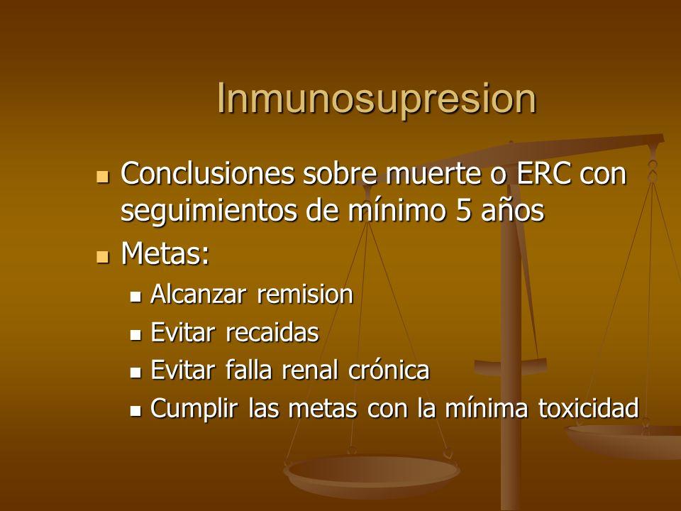 Inmunosupresion Conclusiones sobre muerte o ERC con seguimientos de mínimo 5 años. Metas: Alcanzar remision.