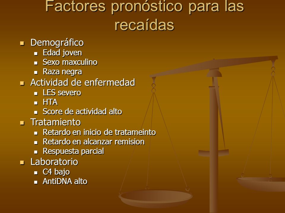 Factores pronóstico para las recaídas
