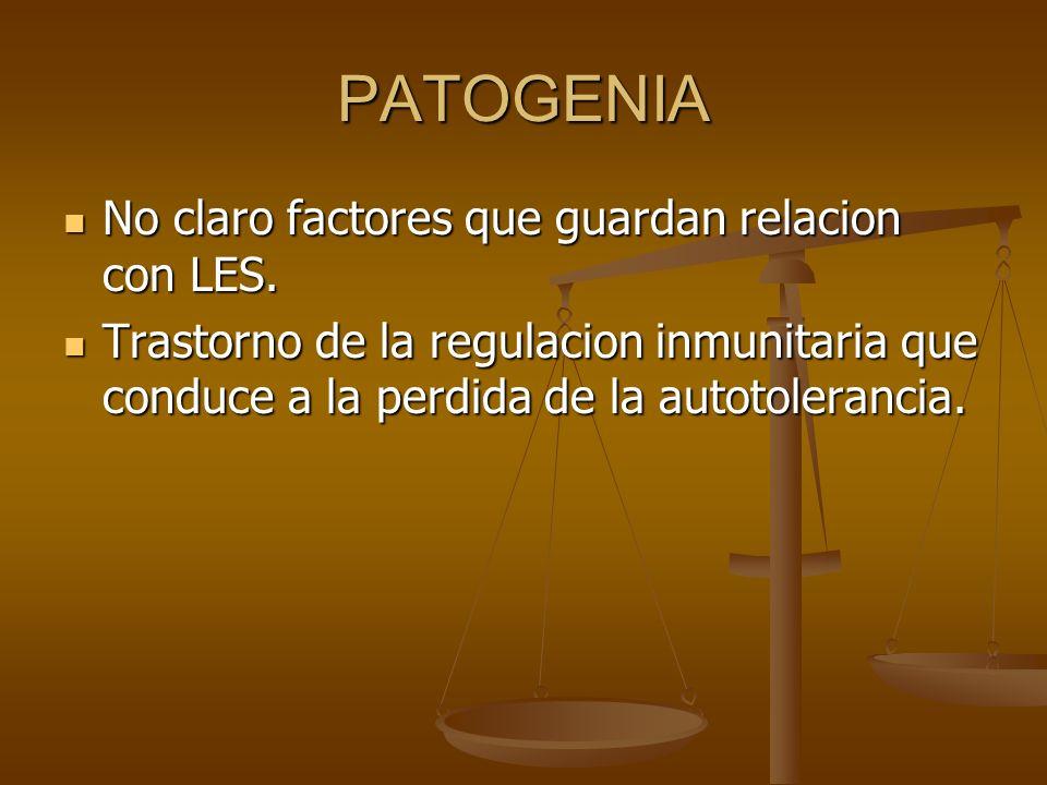 PATOGENIA No claro factores que guardan relacion con LES.