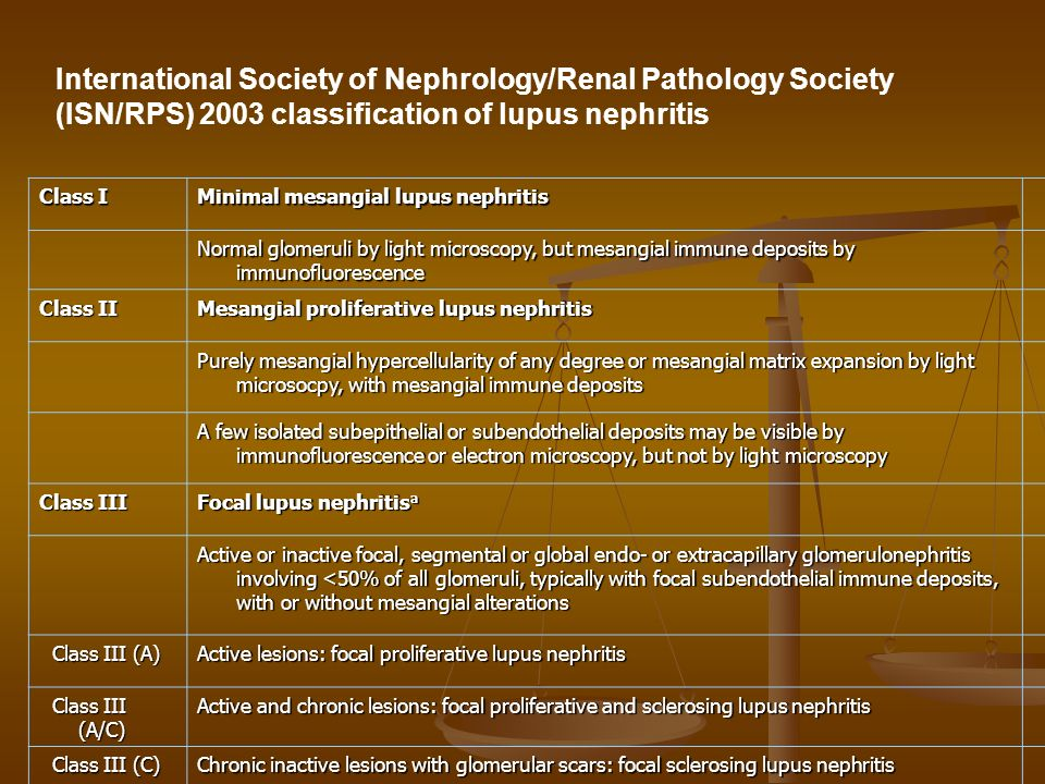 International Society of Nephrology/Renal Pathology Society (ISN/RPS) 2003 classification of lupus nephritis