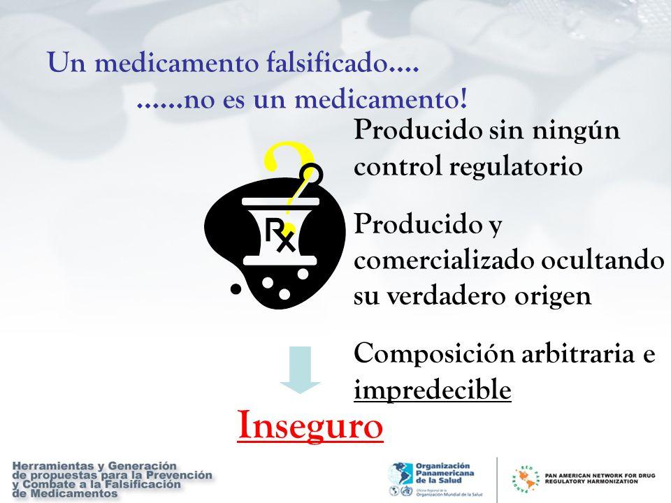 Inseguro Un medicamento falsificado…. ……no es un medicamento!