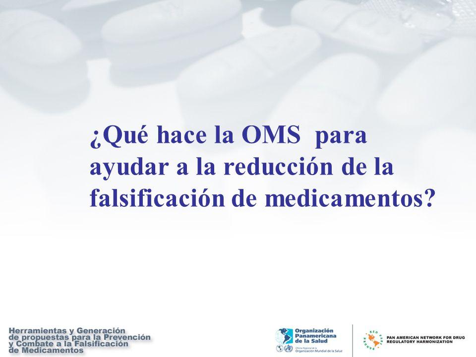 ¿Qué hace la OMS para ayudar a la reducción de la falsificación de medicamentos