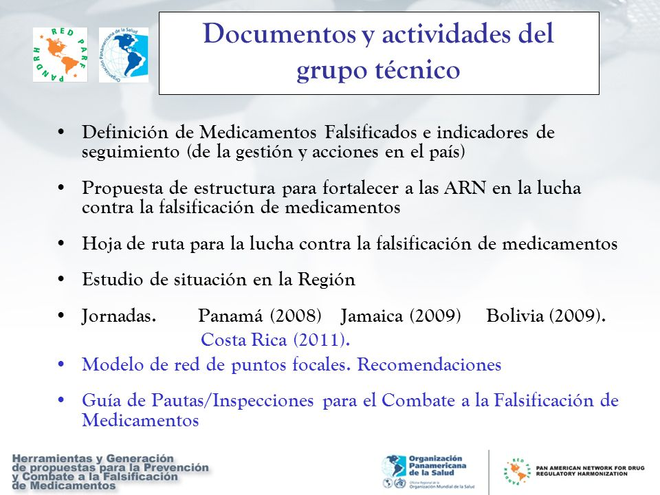 Documentos y actividades del grupo técnico