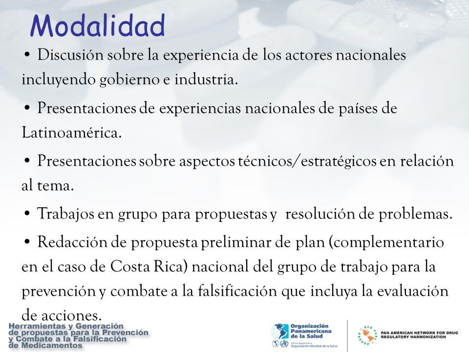 Modalidad Discusión sobre la experiencia de los actores nacionales incluyendo gobierno e industria.