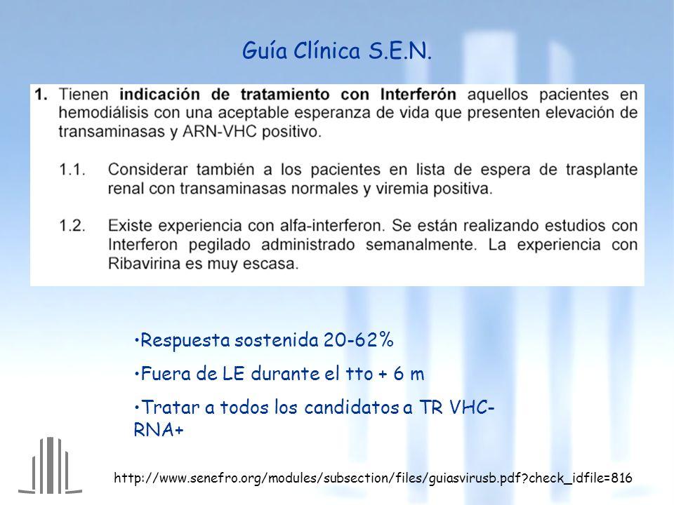 Guía Clínica S.E.N. Respuesta sostenida 20-62%